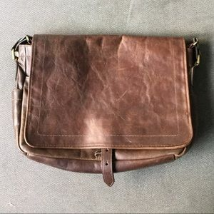 J.Crew Leather Messenger Laptop Bag Satchel Brown